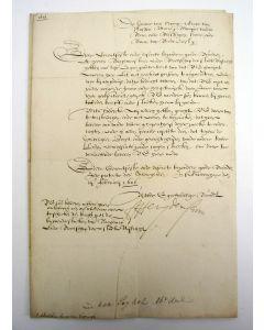 Brief van Prins Frederik Hendrik van Oranje aan de Ridderschap van Utrecht, eigenhandig ondertekend en gedateerd 3 februari 1626