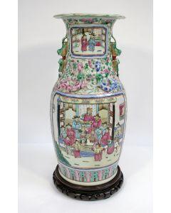 Kantonnese porseleinen vaas, groot formaat, ca. 1900