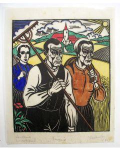 Jan Franken Pzn, 'Boeren', handgekleurde houtsnede, 1926