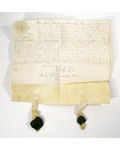 Charter, transportakte van een huis aan de Prinsengracht te Amsterdam, met lakzegels van de schepenen Hope en Geelvinck, 1767