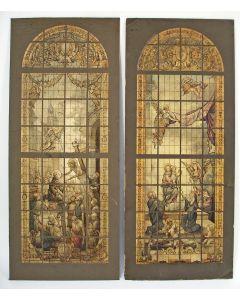 Ontwerp van twee glas-in-loodvensters voor de Sint Augustinuskerk te Utrecht, door Hein de Vos, ca 1900