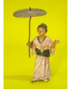 Beschilderd metalen beeldje, Japanse dame met parasol, ca. 1900