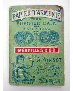 Boekje met 'Papier d'Armenie', luchtzuiverend en heilzaam middel, ca. 1900