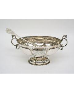 Zilveren brandewijnkom met lepel, Okke Reints Joling, Midwolda, ca, 1806