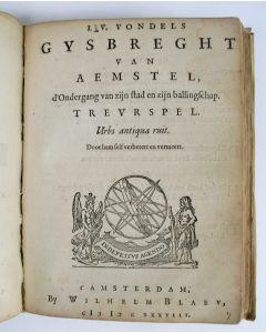 Joost van den Vondel - Convoluut van zes werken in één perkamenten band, 17e eeuw.