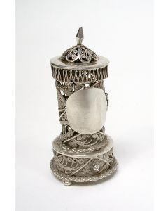 Zilveren miniatuur, potkachel, 19e eeuw