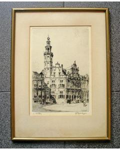 Hendrik Roodenburg, 'Stadhuis, Den Haag', ets, 1923