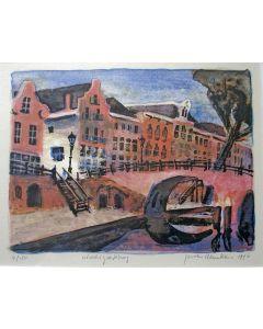 Jeroen Hermkens, 'Geertebrug' kleurenlitho, 1996