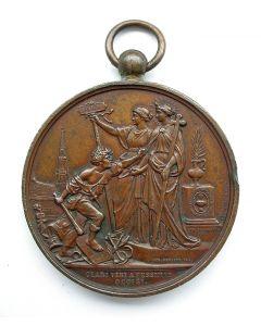 [België] Penning Schoolwetbetoging te Brussel, 1884, met gravering Merendré