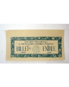 Toegangsbiljet voor de Exposition Internationale des Arts Décoratifs, Parijs 1925