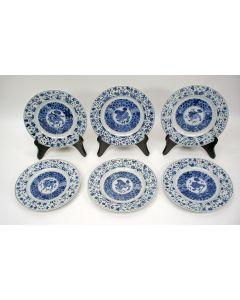 Zes Chinese porseleinen borden, Kangxi periode