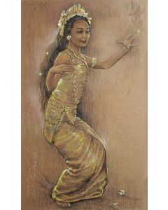 Balinese danseres, pasteltekening, gesigneerd