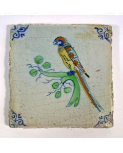 Polychrome tegel met vogel, 17e eeuw