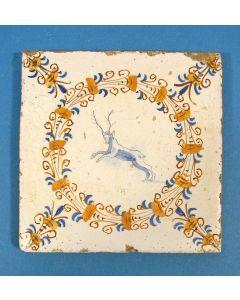 Haarlemmer tegel met hert, 17e eeuw