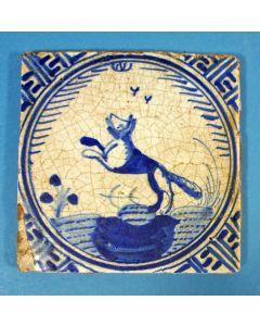 Diertegel, springende hond, 17e eeuw