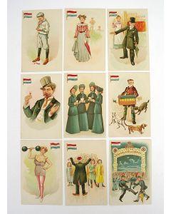 Serie satirische prentbriefkaarten, 'Wien Neerlands bloed..', ca. 1900