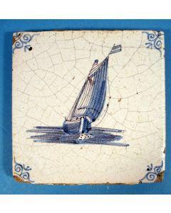 Tegel met vissersboot, ca. 1700