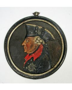 Beschilderde relïëfplaquette, Frederik De Grote, door Johann Georg Hilpert, Neurenberg ca. 1780
