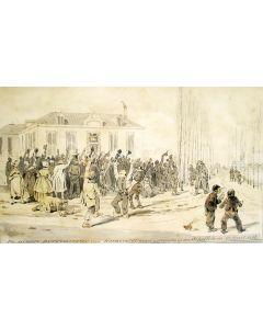 Pieter van Loon, 'De nieuwe burgemeester van Barneveldt ontvangen op den Schaffelaer, 17 april 1837', aquarel