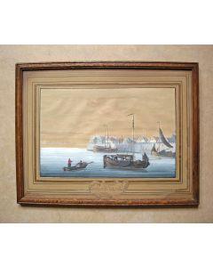 Gezicht op de haven van Schokland, gouache, 19e eeuw