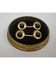 Gouden smokingknoopjes met saffier, 19e eeuw