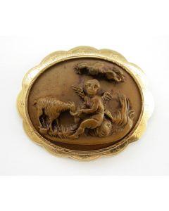 Gouden broche met lavasteen, 19e eeuw