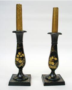 Gelakte tinnen kandelaars, ca. 1825