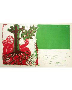 Hildo Krop, 'Wie groen wil worden…', houtsnede, 1959