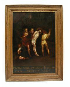Omgeving van Frans Francken II, 'De geseling van Christus', paneel, 17e eeuw