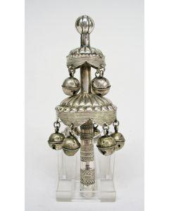 Zilveren rammelaar/rinkelbel, 19e eeuw