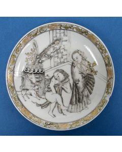 Encre-de-chine-schoteltje, bordeelvoorstelling, 18e eeuw