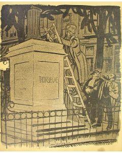 Jan Sluijters, politieke voorstelling [met Thorbecke] , litho, 1919