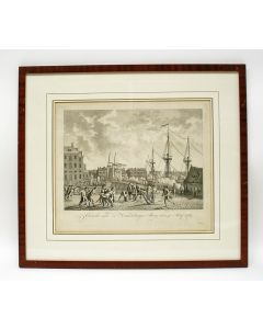 'Gevecht aan de Kattenburger Brug den 30. Maij 1787' (tussen prinsgezinden en patriotten). Gravure, proefdruk.