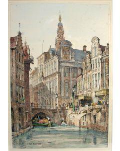 Utrecht, Vismarkt en stadhuis, handgekleurde litho, 1833