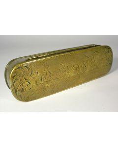 Gegraveerde koperen tabaksdoos met galante voorstellingen, 18e eeuw