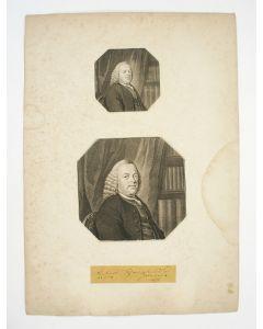 Portret van Jan Wagenaar, gravures door Jan Houbraken, met een autograaf van Wagenaar en annotaties van Alexander VerHuell