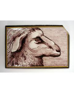 Tegelplaatje met schaap, Utrecht, 19e eeuw