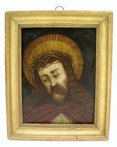 Antwerpse School, Christus man van smarten, schilderij op koper, 17e eeuw