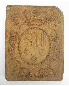 Haardsteen met het wapen van Prins-Bisschop Georges Louis de Berghes, Luik ca. 1730