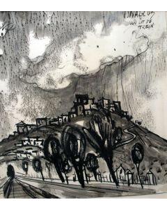 Charles Eyck, 'Isnallos vanuit de trein', inkttekening, ca. 1960
