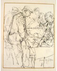 Piet Klaasse, 'Visafslag IJmuiden', tekening, 1964