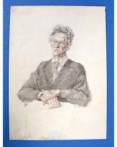 Peter Vos, portret van Simon Carmiggelt, aquarel, 1983