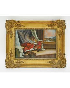 Achterglasschildering, de Droom van de Farao, 18e eeuw