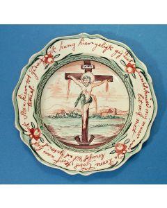 Staffordshire creamware bord met kruisigingsvoorstelling, voor de Nederlandse markt, 18e eeuw