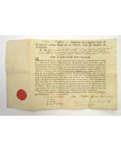 Zegeningsbrief van het Trappistenklooster van Darfeld voor een Maastrichtse familie, ondertekend door Eugène de Laprade,1807