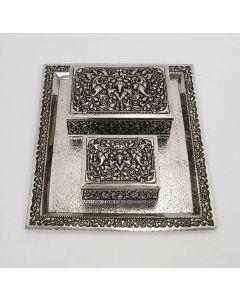 Djokja zilveren rookstel, geschenk van Minister Soebandrio