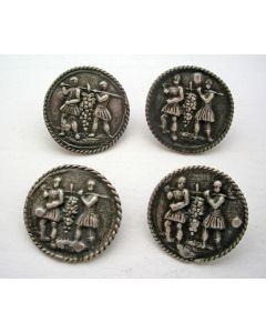 Vier zilveren knopen met de Verspieders van Kana, ca. 1810/20