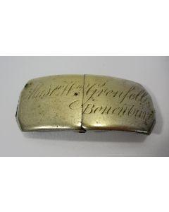 Naamplaat van een hondenhalsband, Wm. Grenfell, landgoed Bonenburg, Heerde, 19e eeuw
