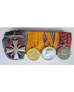 Spang van vier onderscheidingen, met Koreakruis en Inhuldigingsmedaille 1980, ca. 1950-1980