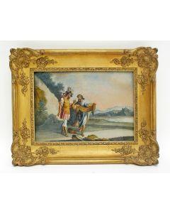 Achterglasschildering, David en de mantel van Saul, 18e eeuw